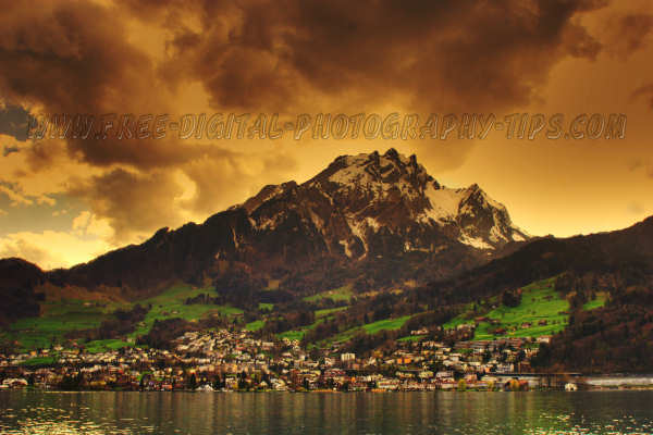 Awesome sunset and Mount Pilatus and Hergiswil Switzerand on April 13th, 2008.