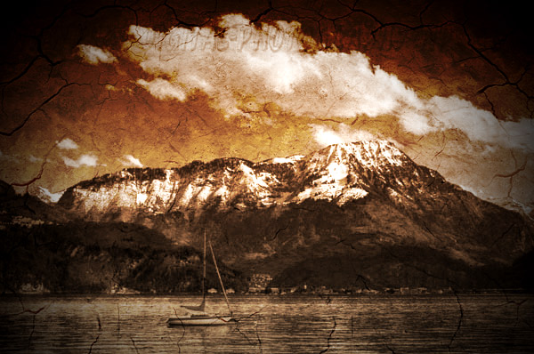 stanserhorn stansstad lake luzern sailboat hdr old antique aging sepia tone photo photoshop tutorial