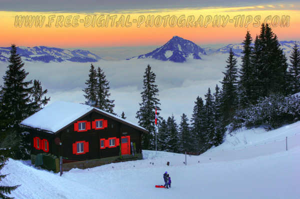 Beautiful sunset and scene at the Klewenalp Switzerland ski resort on Jan. 1st, 2008.