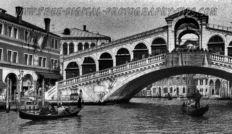 The great historic and famous Rialto Bridge in Venice Italy.