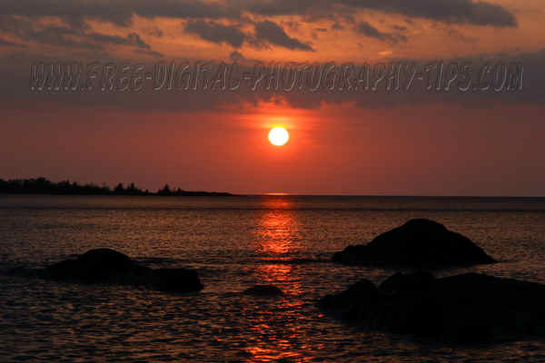 Gorgeous sunset over Lake Superior Copper Harbor Michigan