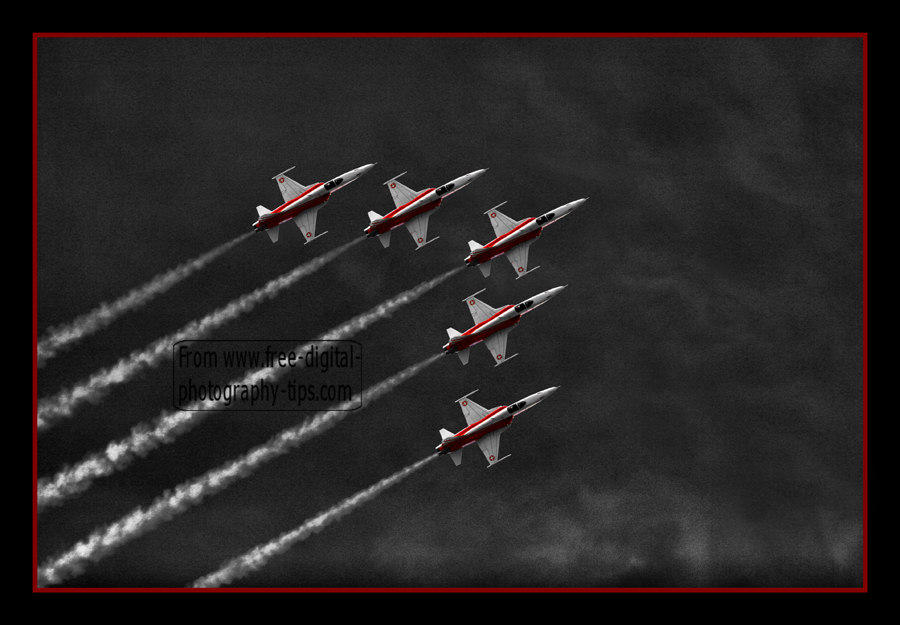 swiss air force fighter jets northrop f5e tiger aerobatics team flying air show emmen luzern switzerland