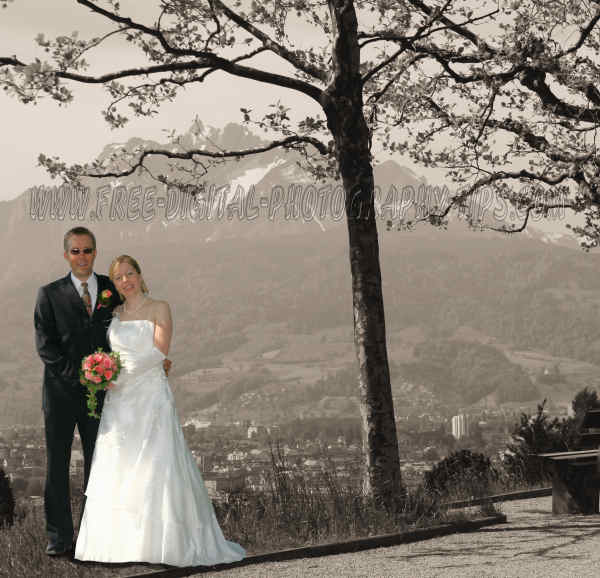 Wedding photo sepia colored background Mount Pilatus Luzern Switzerland background