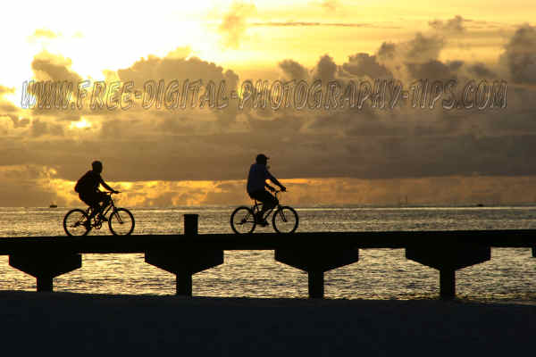 Awesome sunset some bikers Sun Island Maldives