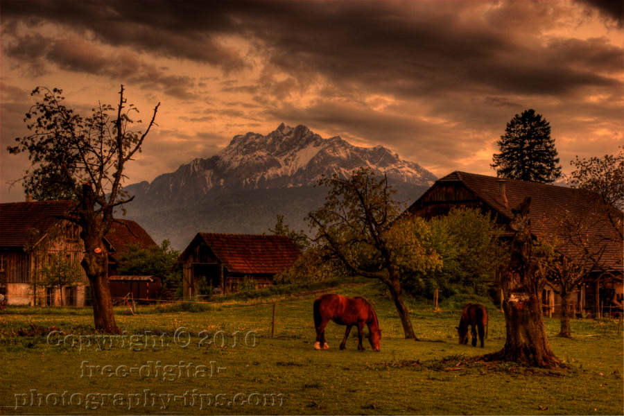 HDR photography swiss barns horses grazing mount pilatus luzern switzerland