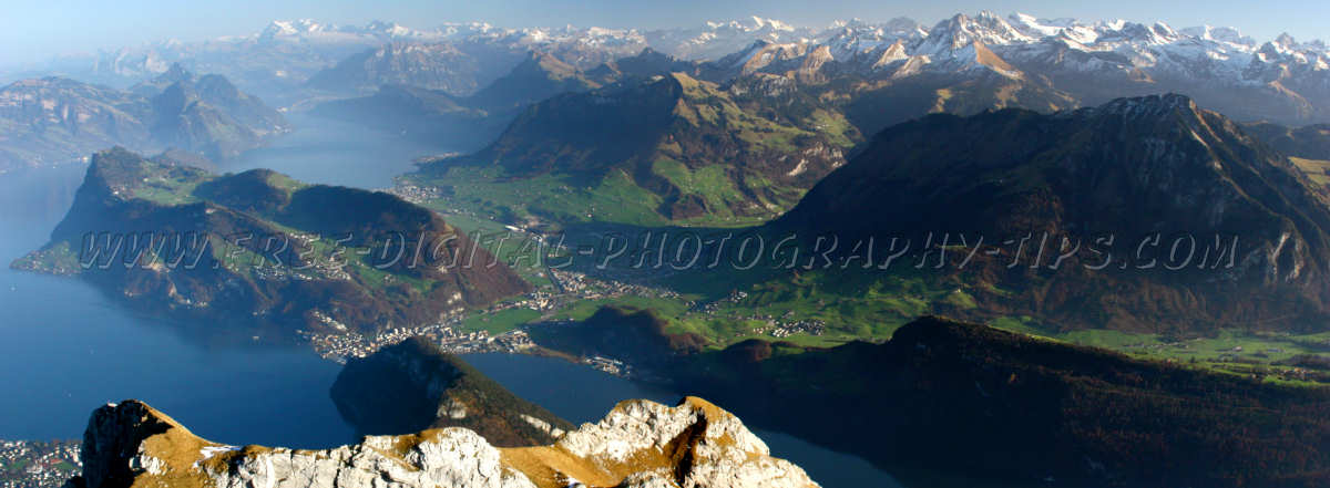 Stans/Stansstad/Ennetmoos Switzerland and some Swiss Alps from the top of Mount Pilatus in Luzern Switzerland. This panoramic was taken on Nov. 26th, 2006.