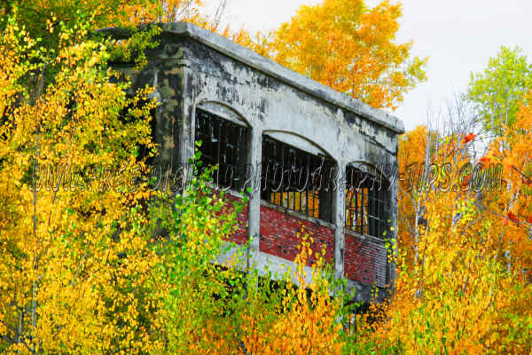 Beautiful fall colors and an old abandoned copper mining building near Lake Linden Michigan in the Upper Peninsula of Michigan.