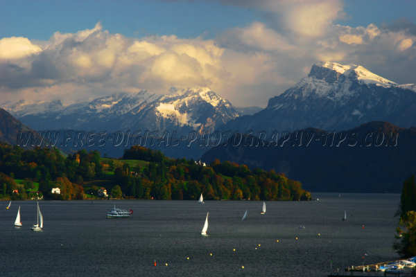 Lake Luzern and the snowy Swiss Alps as viewed from Luzern Switzerland on Oct. 20th, 2007.