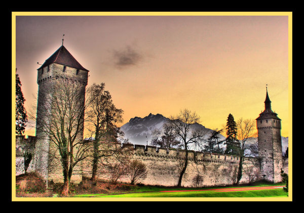 swiss pilatus luzern switzerland castle wall sunset hdr photo sunset