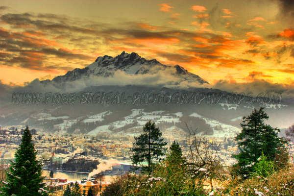 Luzern Switzerland and Mount Pilatus during the sunset