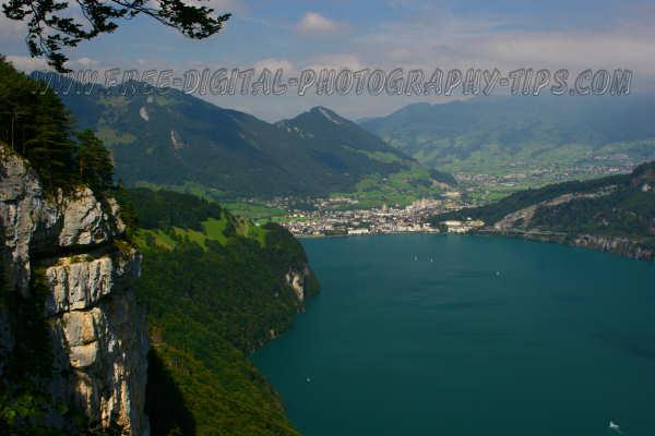 View from Beroldingen Switzerland over Urner See Lake and Brunnen Switzerland on Sept. 8th, 2007.