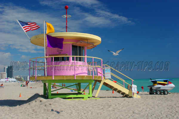 Lifeguard shack on South Beach in Miami Florida.